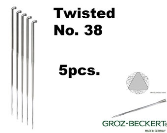 Twisted felting needles, Gauge 38. Price for 5pcs. Made in Germany.