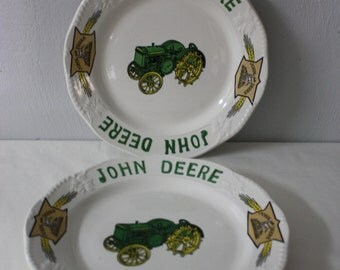 Pair of John Deere Dinner Tractor Plates by Gibson Timeless Wheat