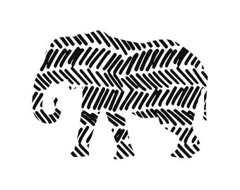 Elephant Digital Print Black