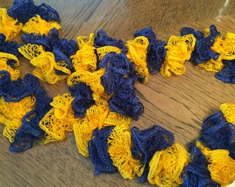 Blue & Gold Crocheted Scarf