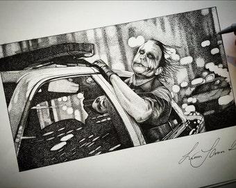 Original Hand Stippled Drawing - Heath Ledger as 'The joker'