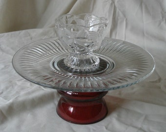 Glass Plate on Pedestal with Small Bowl