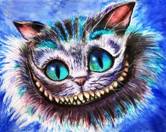 Cheshire. Art print on canvas. Hand-embellished. Signed.