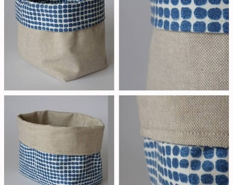 Fabric bin basket, fabric storage, blue dots, reversible, can be used on both sides
