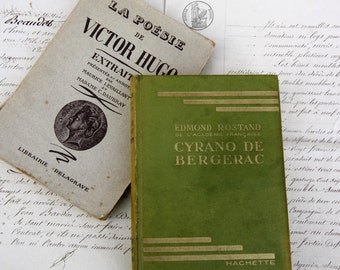 Cyrano de Bergerac French Vintage Play Script Book/Victor Hugo Poems French Vintage Book Extracts/French Literature Books