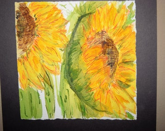Sunflowers, watercolor painting