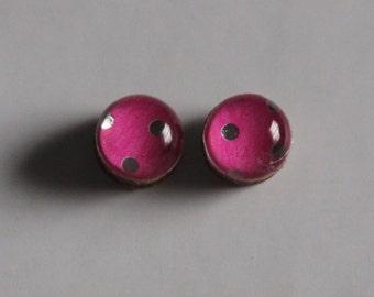 Pink Polka Dot Studs - Wood Stud Earrings, Studs, Wood Earrings, Polka Dot Earrings