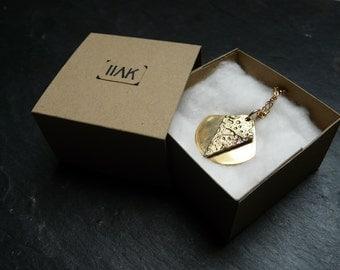 VOLANS - Geometric brass and gold plated pendant, hand made, minimalist, futurist