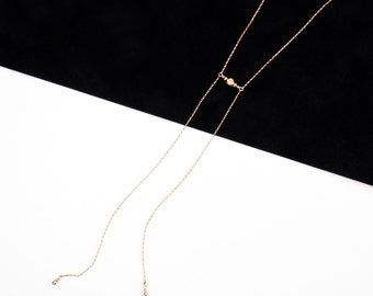 Dainty Gold Necklace, Minimal Bolo Necklace, Y Necklace, Gold Chain Necklace, Delicate Gold Necklace, Lariat | THE AQUA DUCT