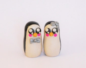 Custom Clay Penguins, Custom Cake Topper, Penguin Cake Topper, Kawaii Penguins, Clay Cake Topper, Wedding Cake Topper, Polymer Clay Penguin
