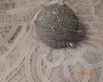 Spectacular Irridescent and White Spiked Ornament