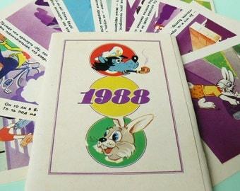Wolf & Bunny Nu, Pogodi!/ Set of 10 Vintage Calendars/ Nu, Pogodi! Cards, Calendars/ Russian Cartoon Heroes - Wolf and Bunny/ USSR, 1988