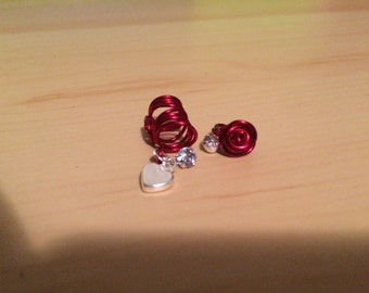 Red heart and rose set