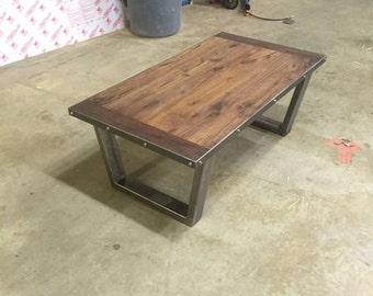 Industrial/Rustic walnut coffee table