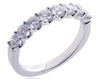 18K White Gold Ladies Round Brilliant 8 Stone Diamond Wedding Band 0.75 tcw