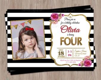 4th birthday invitation, Fourth Birthday Invitation, Photo birthday invitation, 4 year old birthday, 4th birthday girl, girl 4th birthday