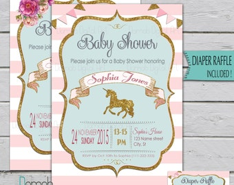 Unicorn Baby Shower Invitation, Unicorn invitation, pink gold baby shower invitation, pink gold glitter, baby girl shower, unicorn party