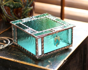 Aquamarine and Turquoise Glass Box