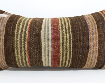 Ethnic pillow 12x24 Bed Pillow Boho pillow turkish striped kilim pillow throw pillow 12x24 cushion cover multicolour pillow SP3060-629