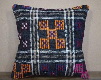 Vintage Kilim Pillow Turkish Kilim Pillow Cover Black Plaid Cushion Cover  40x40 cm SP40-297