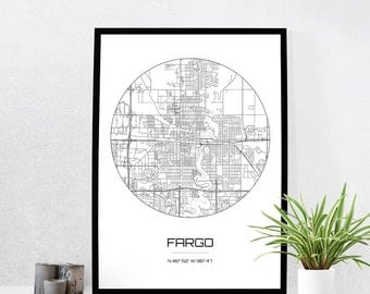 Fargo Map Print - City Map Art of Fargo North Dakota Poster - Coordinates Wall Art Gift - Travel Map - Office Home Decor