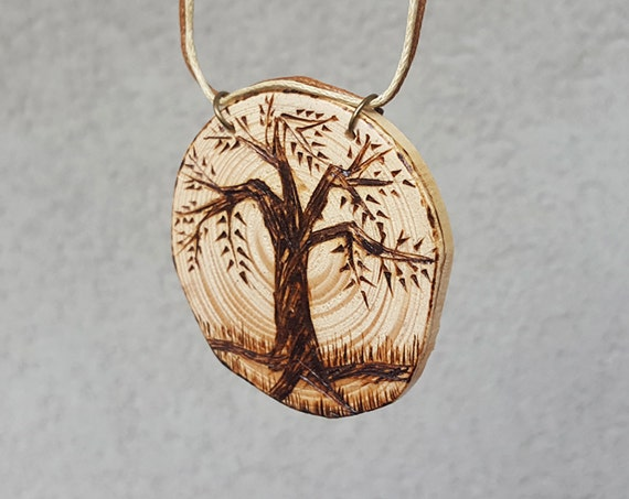 Wood burned pendant necklace tree of life pendant pyrography like this item mozeypictures Images
