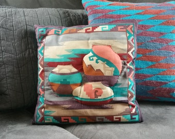 Vintage Southwestern Multi Color Teal Pottery Throw Pillow