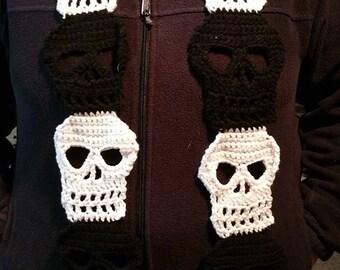 Crochet pattern, crochet sugar skull, easy crochet scarf, skull pattern, skull pattern pdf, skull scarf, gothic scarf, sugar skull pattern
