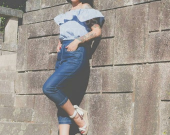 50s Western Style Capri pants in Denim/Twill  - 1950 Capri Pants