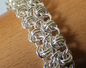 Double Barrel Chain Mail Bracelet, Silver Filled Chain Maille Bracelet, Sterling Silver Toggle Clasp