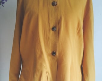 Gorgeous Mustard Vintage Blouse with Beautiful Buttons