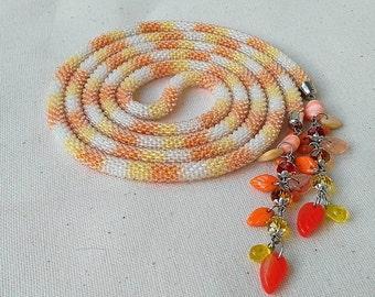 Long Bead Crochet Rope , Orange and Yellow  Crochet Beaded Lariat Necklace