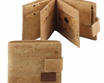 Cork wallet with credit card, ID, coins and cash compartments