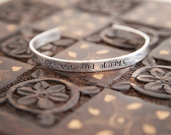 Custom Stamped Cuff Bracelet, Forever and Always, Custom Initials