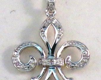 Fleur De Lis Pendant/Necklace -Sterling Silver