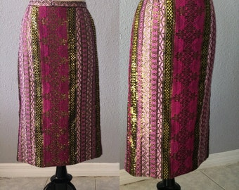 1970's Indian Metallic Tapestry Pencil Skirt