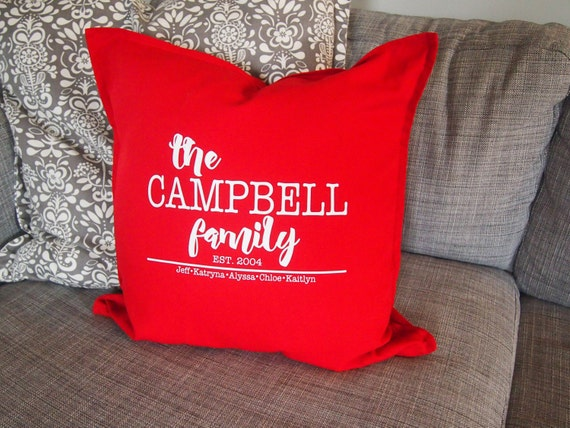 Personalized Family Pillow cover Custom Pillows 20x20 in