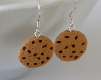 Chocolate Chip Cookie Earrings - Miniature Polymer Clay Food Jewelry