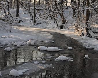 Winter Wonderland #3/ Fine Art Photography/ Wall Art/ Creek in the Woods/ Winter Photography