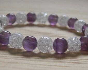Beatiful AMETHYST and ROCK CRYSTAL bracelet, gemstone, healing,chakra
