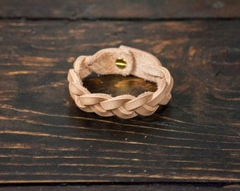 Natural Vegetable Tanned Leather Braided Cuff with Solid Brass Hardware - Made to Order