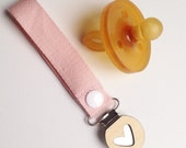 Baby Pink Dummy/Pacifier Clip with Bamboo Button