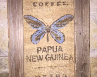Framed Dunn Bros Burlap Coffee Bag, Papua New Guinea