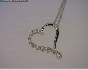 14K White Gold Heart Pendant & Chain 0.25 Carats, SI2, H Diamond, 2.50 Gr (A472)
