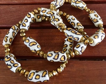 Ghanaian handmade glass bead vintage leopard bangles