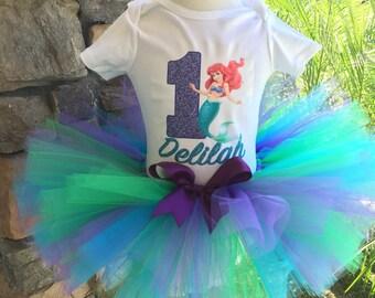 Little Mermaid Tutu Set, Mermaid Tutu, Blue and Green Tutu, Ariel Tutu, Personalized Birthday Shirt, Girl Birthday Outfit