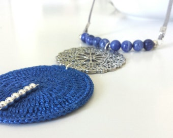 Long necklace for women, blue necklace with pendant, bluelong statement necklace, Boho necklace with pendants, long blue necklace