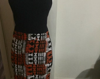 New, Re-designed, Dress, navy blue, small, African print, Ankara print, African clothing, African dress