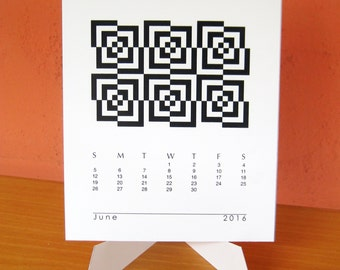 2016 Geometric Desk Calendar with Stand, Also Fits CD Jewel Case - Printable PDF, Instant Download