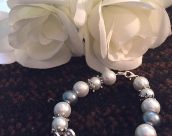LOVE bracelet with ivory & grey beads